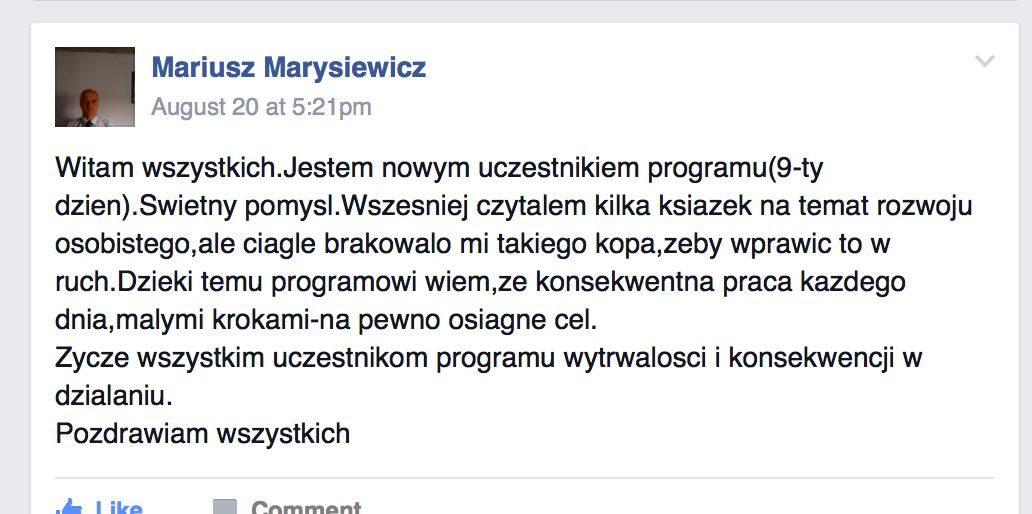 Wyzwanie90dni - opinia Mariusz Marysiewicz